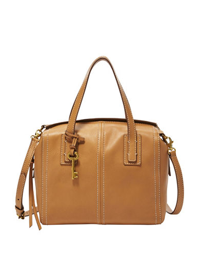 Fossil Emma Leather Satchel-BEIGE-One Size
