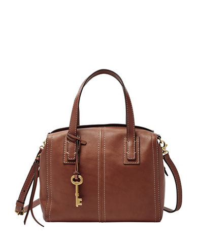 Fossil Emma Leather Satchel-BROWN-One Size