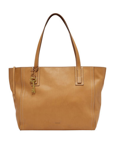 Fossil Emma Leather Tote-BEIGE-One Size