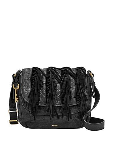 Fossil Peyton Fringed Leather Crossbody Bag-BLACK-One Size