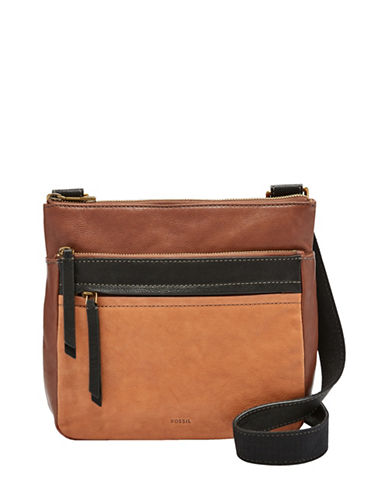 Fossil Corey Colourblock Leather Crossbody Bag-BROWN-One Size