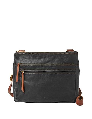 Fossil Corey Large Leather Crossbody Bag-BLACK-One Size