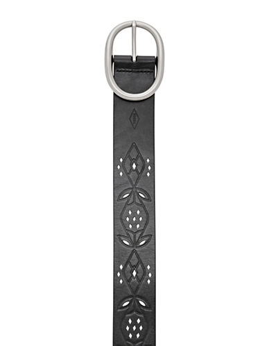Fossil Perforated Floral Leather Belt-BLACK-Medium