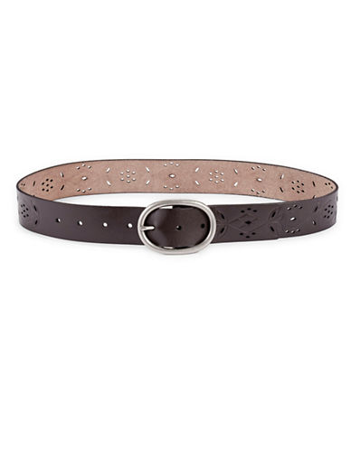Fossil Floral Perforated Belt-BROWN-Large