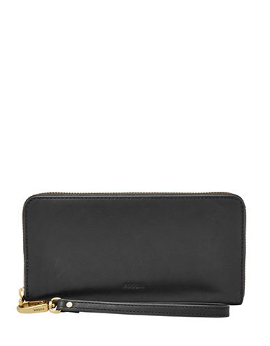 Fossil Emma Zip Clutch-BLACK-One Size