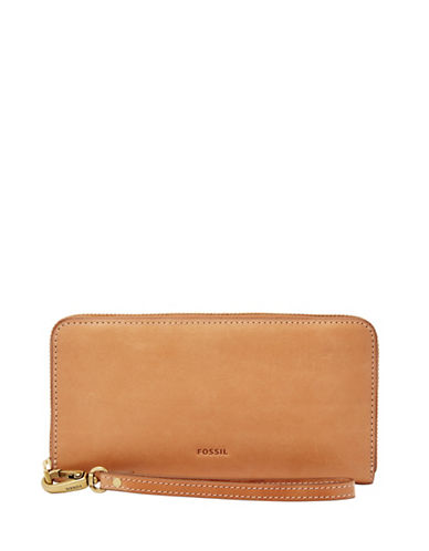 Fossil Emma Zip Clutch-BROWN-One Size