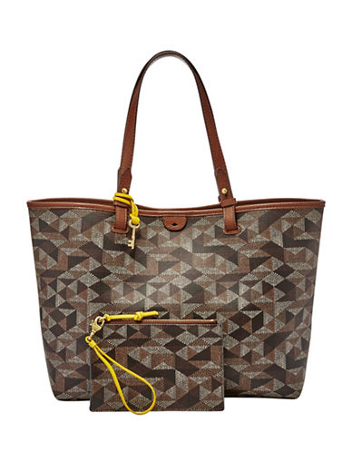 Fossil Rachel Printed Leather Tote-BROWN-One Size