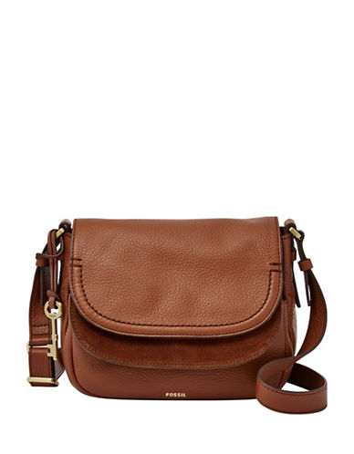 Fossil Peyton Leather Crossbody Bag-BROWN-One Size