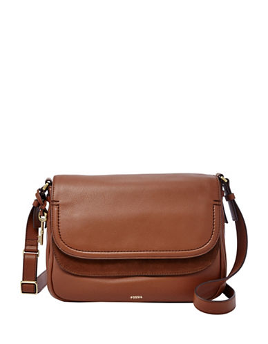 Fossil Peyton Large Leather Crossbody Bag-BROWN-One Size