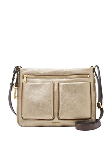 Fossil Piper Mini Leather Crossbody Bag-GREY-One Size