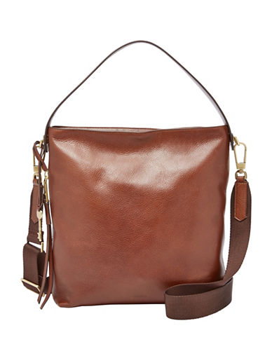 Fossil Maya Small Leather Hobo Bag-BROWN-One Size
