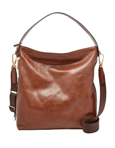 Fossil Maya Leather Large Hobo Bag-BROWN-One Size