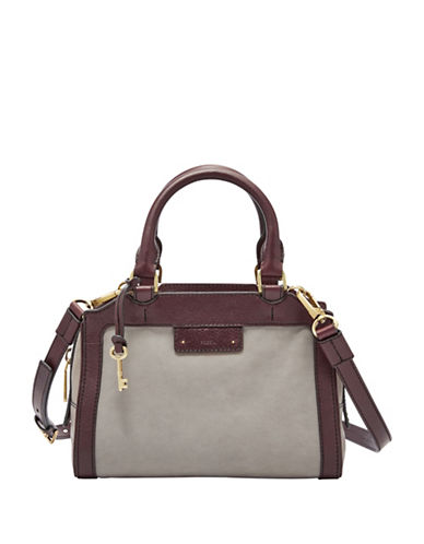 Fossil Logan Leather Small Satchel Bag-GREY-One Size
