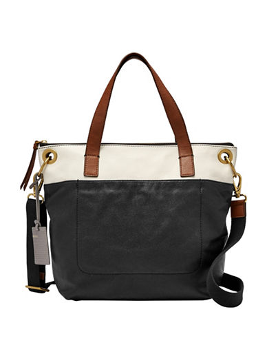 Fossil Keely Small Leather Tote Bag-BLACK-One Size