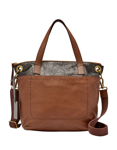 Fossil Keely Small Leather Tote Bag-BROWN-One Size