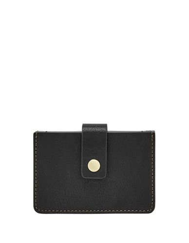 Fossil Mini Tab Leather Card Case-BLACK-One Size