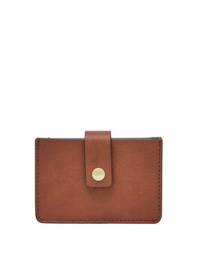 Fossil Mini Tab Leather Card Case-BROWN-One Size