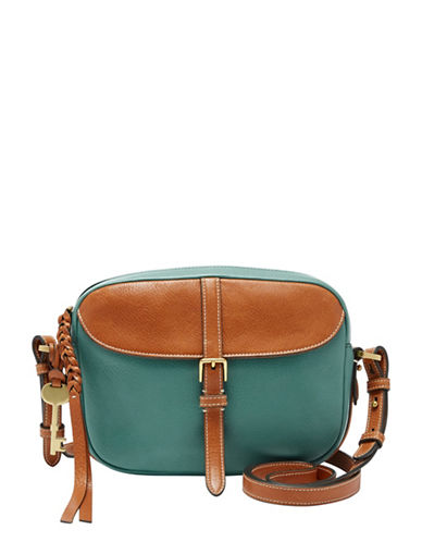 Fossil Kendall Colourblock Leather Crossbody Bag-GREEN-One Size