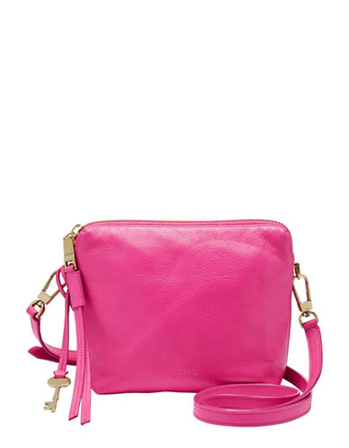 Fossil Maya Pebbled Leather Crossbody Bag-HOT PINK-One Size