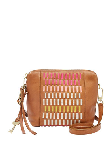 Fossil Maya Leather Crossbody Bag-BEIGE MULTI-One Size