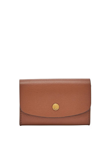 Fossil Haven Glazed Pebbled Leather Card Case-BROWN-One Size