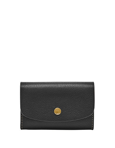 Fossil Haven Glazed Pebbled Leather Card Case-BLACK-One Size