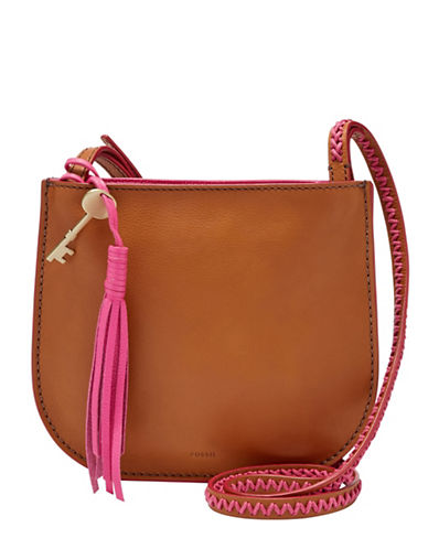 Fossil Brooklyn Small Tassel Leather Crossbody Bag-VINTAGE BROWN-One Size