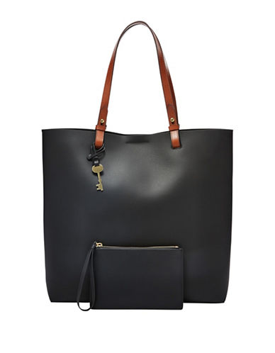 Fossil Rachel Coated Leather Tote-BLACK-One Size 89167943_BLACK_One Size