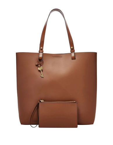 Fossil Rachel Coated Leather Tote-BROWN-One Size