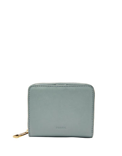 Fossil Emma RFID Mini Multifunction Zip-Around Wallet-BLUE-One Size