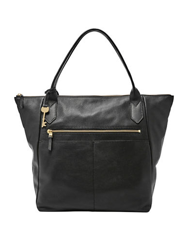 Fossil Fiona Leather Tote-BLACK-One Size