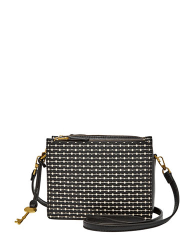 Fossil Campbell Printed Crossbody Bag-BLACK-One Size