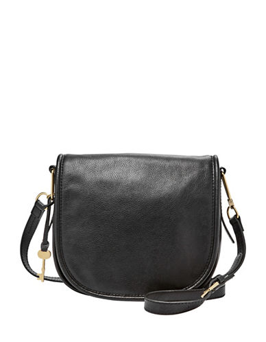 Fossil Rumi Leather Crossbody Bag-BLACK-One Size