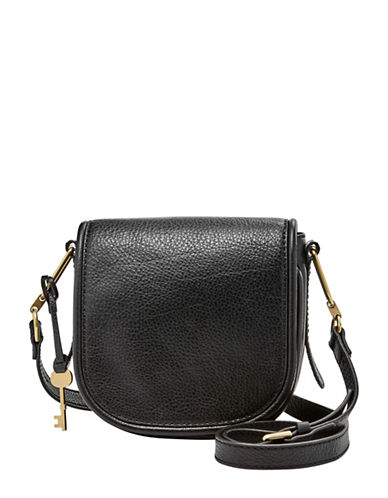 Fossil Rumi Small Leather Crossbody Bag-BLACK-One Size
