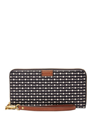 Fossil Emma RFID Printed Large Zip Clutch-BLACK-One Size