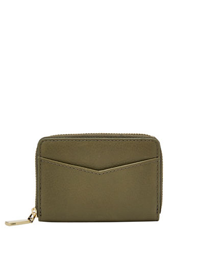 Fossil RFID Mini Zip Leather Card Case-GREEN-One Size