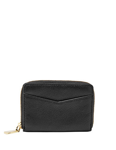 Fossil RFID Mini Zip-Around Leather Card Case-BLACK-One Size