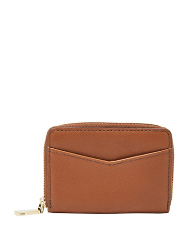 Fossil RFID Mini Zip-Around Leather Card Case-BROWN-One Size