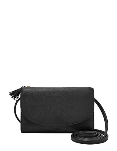 Fossil Sophia Leather Wallet Crossbody Bag-BLACK-One Size