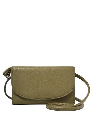 Fossil Sophia Leather Wallet Crossbody Bag-GREEN-One Size