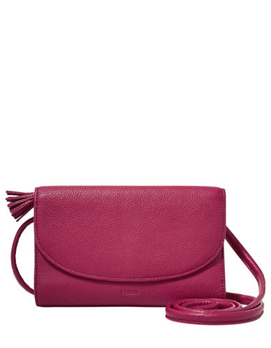 Fossil Sophia Leather Wallet Crossbody Bag-PINK-One Size