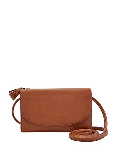 Fossil Sophia Leather Wallet Crossbody Bag-BROWN-One Size