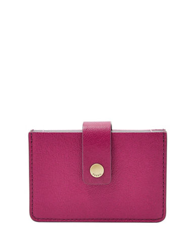 Fossil Mini Tab Leather Card Case-PINK-One Size
