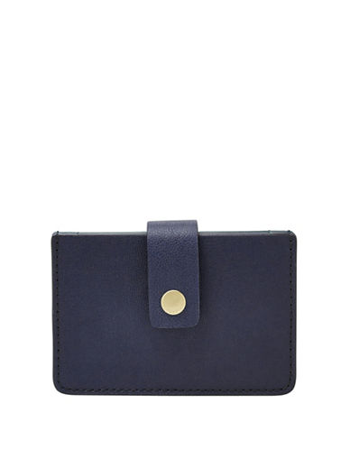 Fossil Mini Tab Leather Wallet-BLUE-One Size