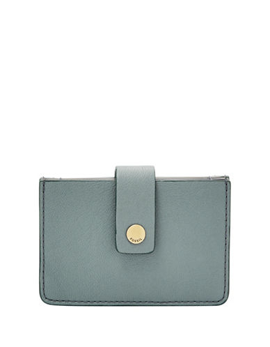 Fossil Mini Tab Leather Card Case-BLUE-One Size