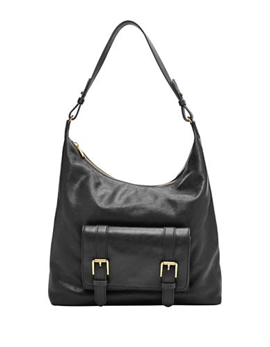 Fossil Cleo Leather Hobo Bag-BLACK-One Size
