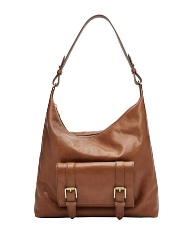 Fossil Cleo Leather Hobo Bag-BROWN-One Size
