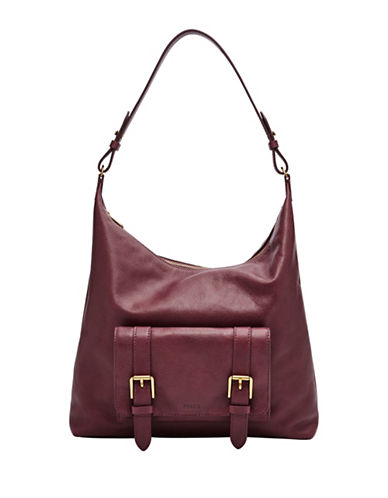 Fossil Cleo Leather Hobo Bag-RED-One Size