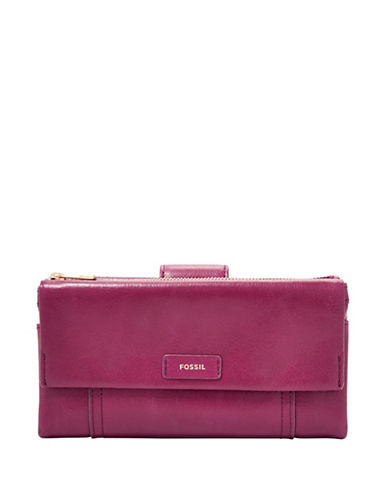 Fossil Ellis Leather Clutch-PINK-One Size