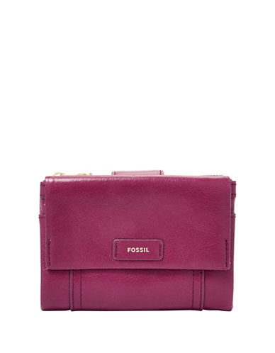 Fossil Ellis Multifunction Leather Clutch-PINK-One Size